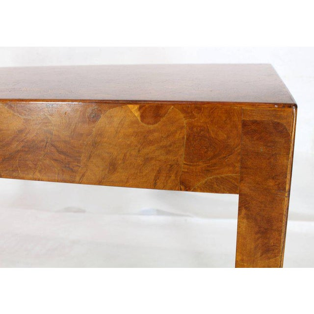 Midcentury Italian modern burl wood batch veneer work rectangle console sofa table. Made in the 1970s.