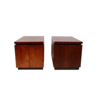 1970s Dillingham Danish Modern Brutalist Walnut Side Tables - a Pair For Sale