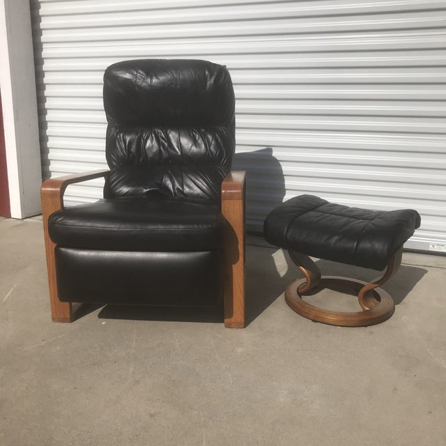 Black 1950s Original Borge Mogensen Black Leather Lounge Chair With Ottoman For Sale - Image 8 of 10