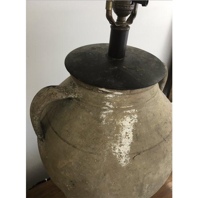 Vintage Mid-Century Oversized Clay Jug Table Lamp For Sale - Image 4 of 9
