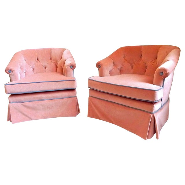 1950s Henredon Pink Velvet Club Chairs - A Pair - Image 4 of 7