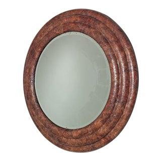 Large Circular Tobacco Leaf Veneered Mirror, 1970s For Sale