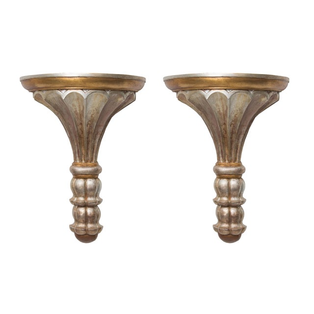 Wood Pair of Silver and Gold Leaf Neoclassical Style Wall Brackets For Sale - Image 7 of 7