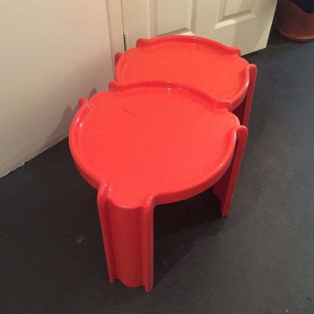Red Nesting Side Tables - A Pair - Image 4 of 6