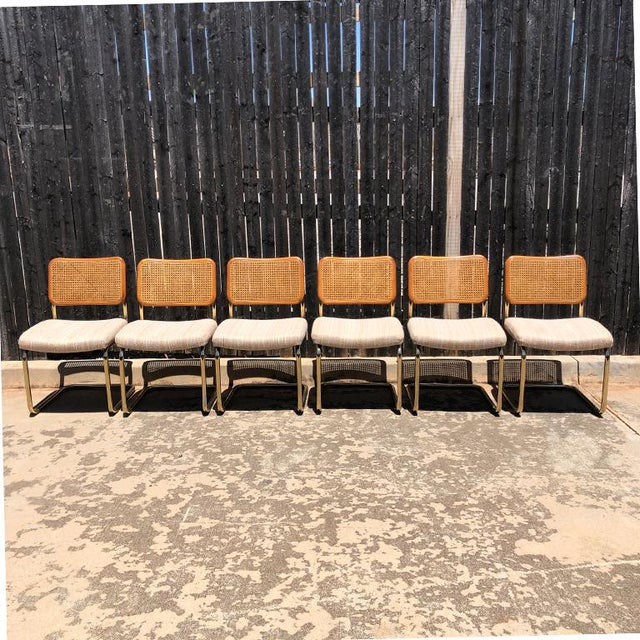 Beautiful set of cantilever Cane Marcel Breuer Bauhaus style tubular dining chairs with upholstered seats. A set of 6....