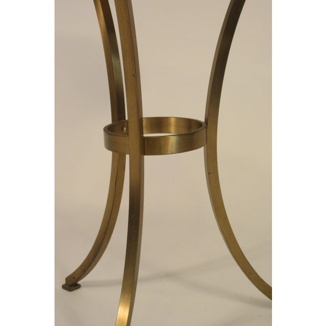 1960s Solid Brass Gueridon Drink Table With Marble Top For Sale - Image 5 of 8