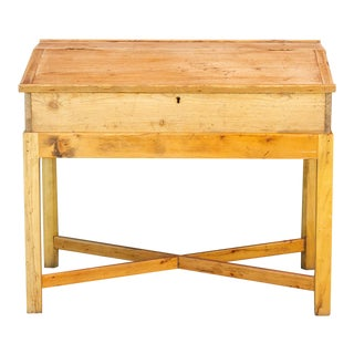 19th Century English Lap Desk on Wooden Stand For Sale