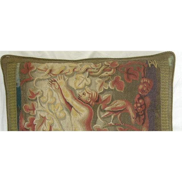16th century antique Flemish tapestry pillow 25'' X 21''. Empire and traditional.