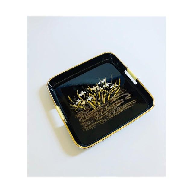 Black Mid Century Square Black Iris Tray For Sale - Image 8 of 8