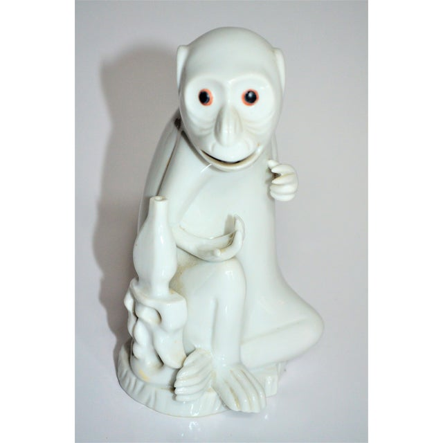 Ceramic Vintage Italian White Porcelain Monkey Figurine For Sale - Image 7 of 10