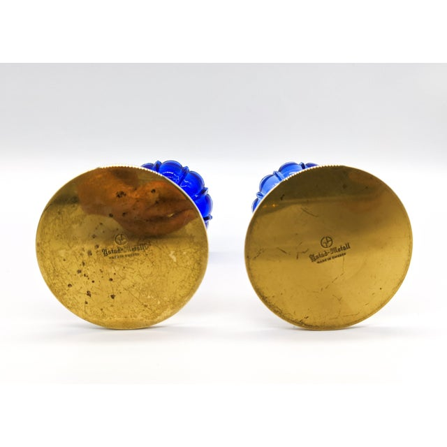 1950s Mid-Century Swedish Gunnar Ander for Ystad-Metall Cobalt Blue Glass Flower & Brass Candleholders - a Pair For Sale - Image 10 of 12