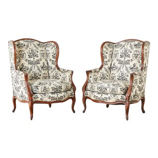 French Louis XV Style Toile Wingback Chairs - a Pair For Sale