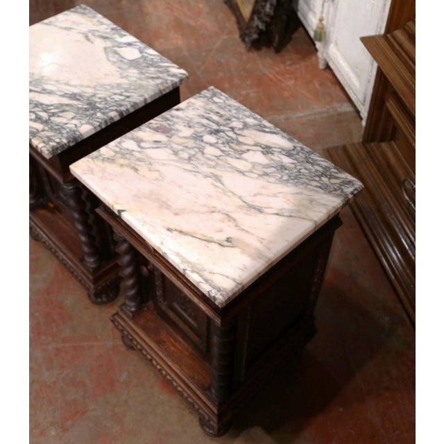 Pair of 19th Century French Carved Oak Nightstands With Marble Top For Sale - Image 10 of 13