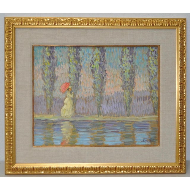 Beautiful vintage impressionist painting by Germany / California artist Eva Sikorski. In her teens, she was accepted to...