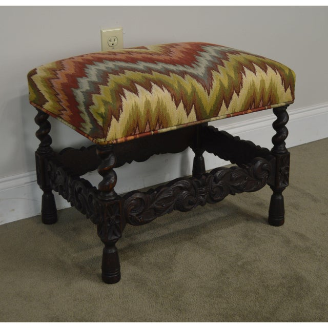 Antique Carved Oak Jacobean Style Small Bench or Stool For Sale - Image 11 of 13