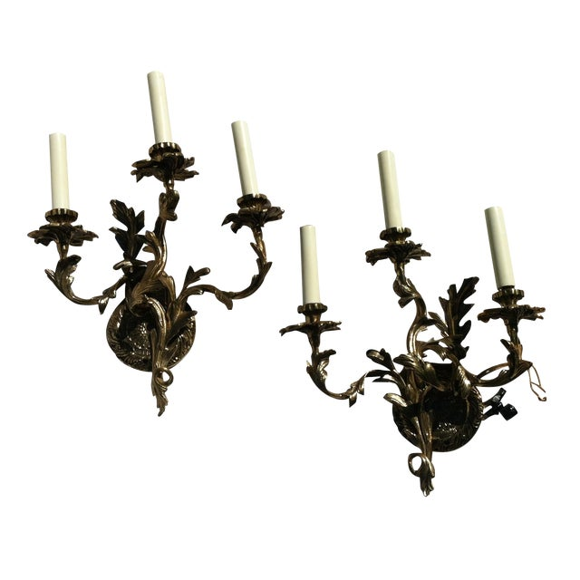Hollywood Regency 3 Arm Wall Sconce Candelabra - 2 For Sale