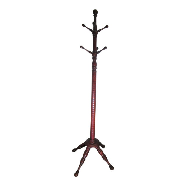 19th Century Victorian American Coat Rack With Turned Dowels For Sale