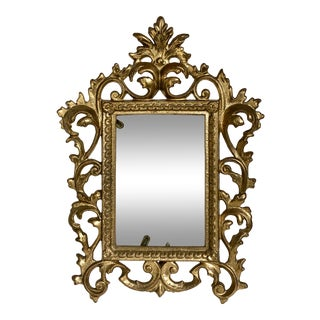 Vintage Rococo Heavy Brass Picture Frame Easel Back For Sale