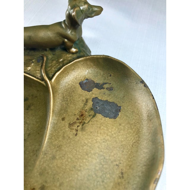 1920s Vintage Art Nouveau McClelland Barclay Dachshund Bronzed Metal Figural Trinket Tray For Sale - Image 10 of 13