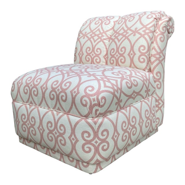 Linen 90s Roll Back Chair Armless Chair Newly Upholstered in Vintage Fabricut Linen For Sale - Image 8 of 8