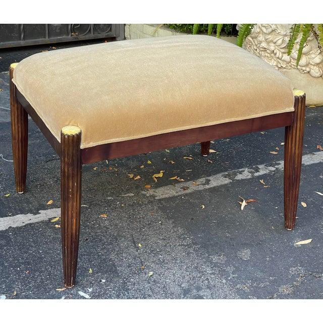 Art Deco J. Robert Scott Art Deco Mahogany & Mohair Ottoman Bench For Sale - Image 3 of 5