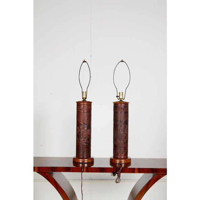 Rustic Pair of Vintage Peruvian Leather Lamps W/ Llama and Greek Key Decorations For Sale - Image 3 of 13
