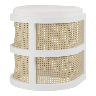Isabella Demi Stool - White Open Pore Oak, Optic White Linen For Sale