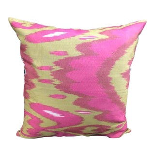 Contemporary Pink Ikat Print Pillow Cover For Sale