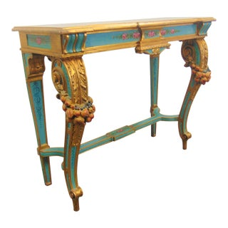 Italian Gilt Carved Paint Decorated Console Table For Sale