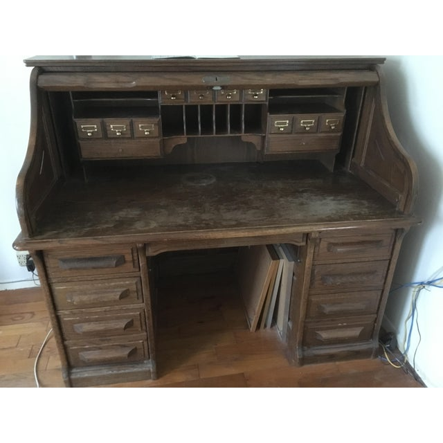 Vintage Jefferson Rolltop Desk For Sale In San Francisco - Image 6 of 10