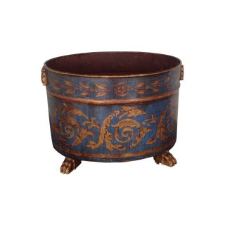 Blue and Gold Tole Planter