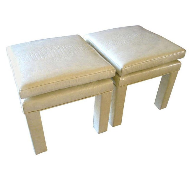 Croc Cream Leather Parson Style Stools - A Pair - Image 1 of 6
