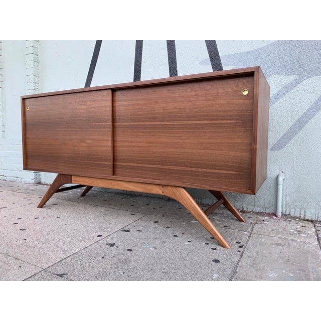 Not Yet Made - Made To Order Mid Century Style Custom Made to Order Media Credenza For Sale - Image 5 of 5
