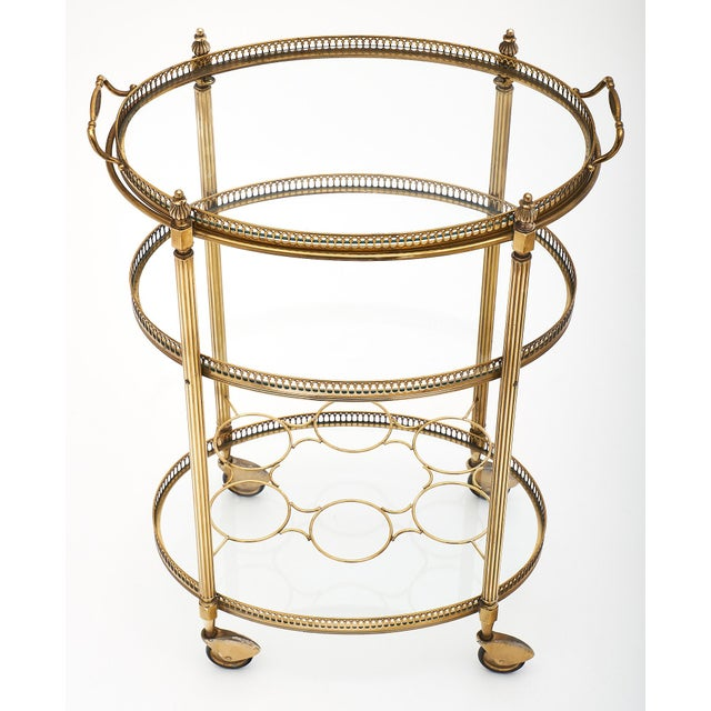 Art Deco Period Brass Oval Bar Cart For Sale In Austin - Image 6 of 10
