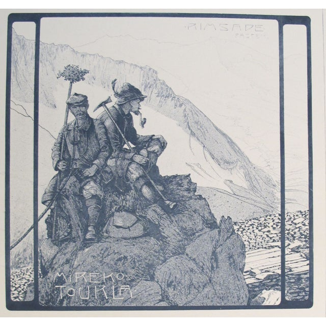 A circa 1900 German decorator print - mountaineering. About The Poster: We recently purchased this plate along with...