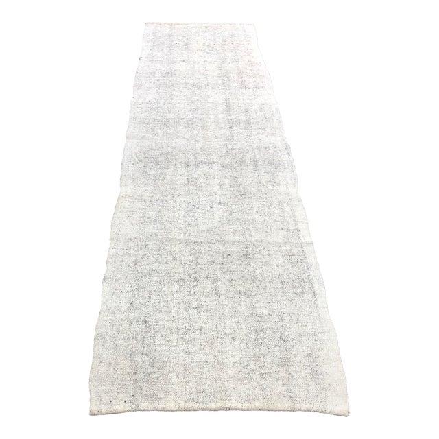 1960s Vintage Turkish Wool Handmade Nomadic Kilim Runner Rug - 2′6″ × 9′8″ For Sale