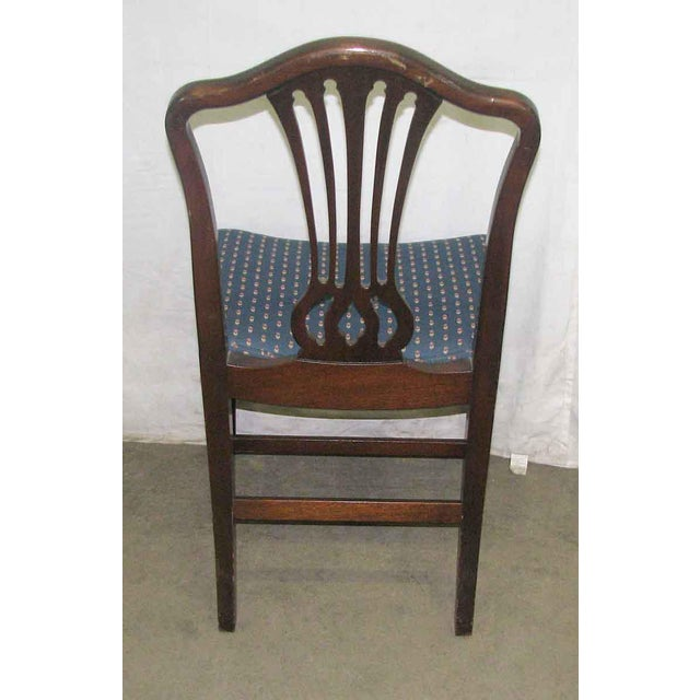Fabric Antique Mahogany Dining Chairs - Set of 5 For Sale - Image 7 of 10