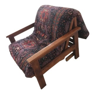 Brazilian Solid Cherrywood Futon Bed/Chair For Sale