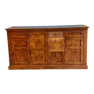 1980s Rustic Wood Credenza For Sale