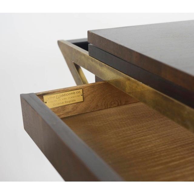 Gold 1960s Vintage Widdicomb Brass X Base Bar or Serving Cart For Sale - Image 8 of 11