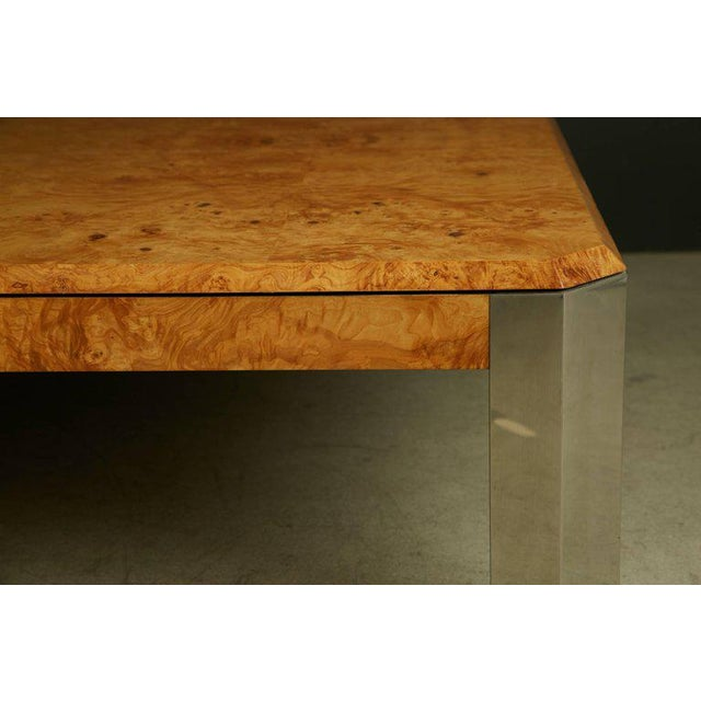 1970s Leon Rosen for the Pace Collection Burled Wood Large Coffee Table For Sale - Image 5 of 8