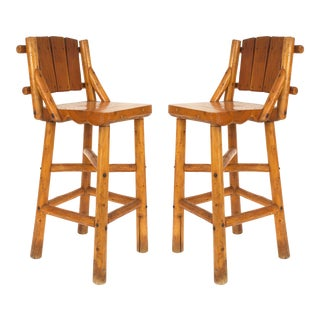 Pair of Old Hickory Pine Bar Stools For Sale