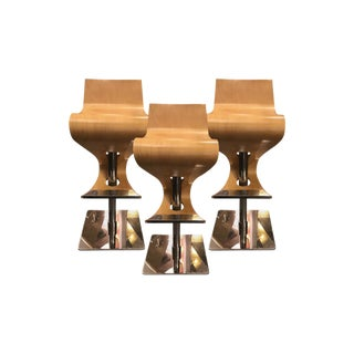 1960s Mid-Century Modern Molded Plywood and Steel Bar Stools - Set of 3