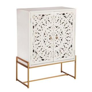 Patricia Lattice Accent White and Gold Cabinet
