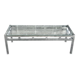 1960s Mid-Century Modern Chrome and Glass Coffee Table For Sale