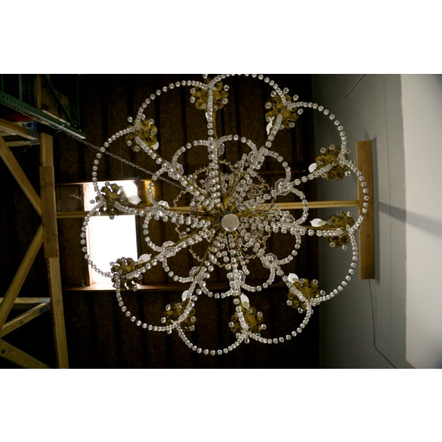 French Crystal Beaded & Brass Curls Ten Light Chandelier For Sale - Image 9 of 11