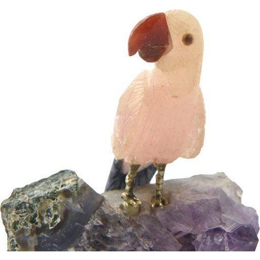 Purple Brazilian Hand-Carved Gemstone Bird For Sale - Image 8 of 9