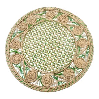 Green and Cream Colombian Placemat For Sale
