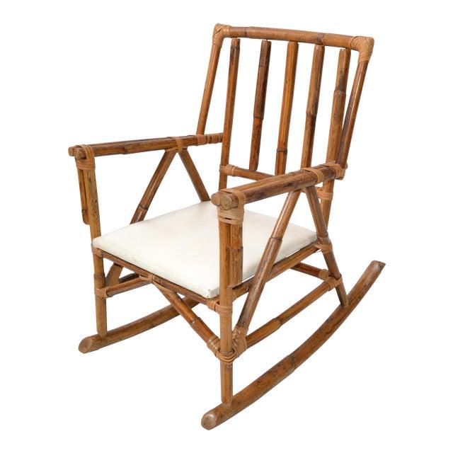 Mid-Century Modern Boho Style Bamboo & Vinyl Children Rocking Chair For Sale