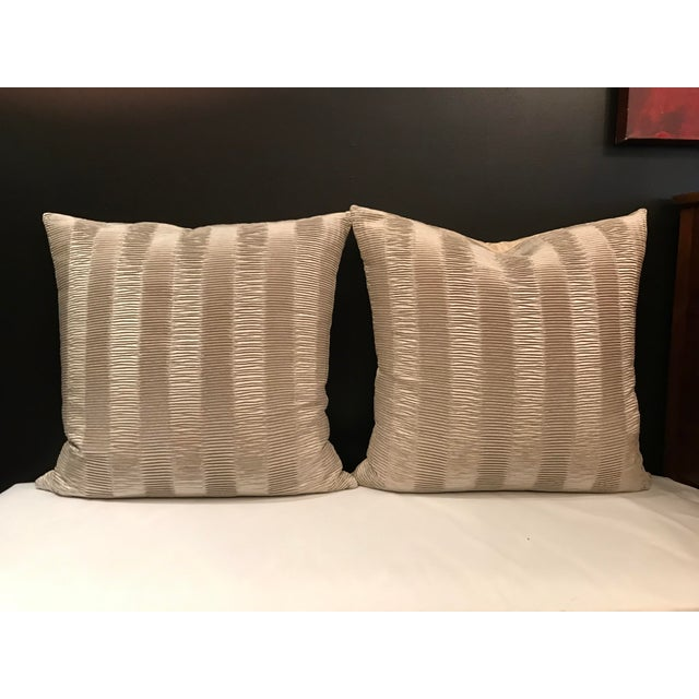 Italian Kravet Couture Metallic Pleat Pillows - a Pair For Sale - Image 6 of 6